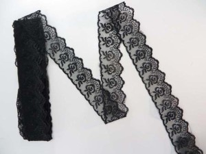 10 yards black 1.5 inches wide scallop venice flower lace trim