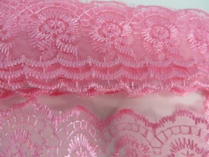 10 yards pink 1.5 inches wide scallop venice flower lace trim