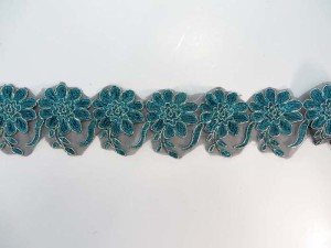 teal blue 2.5 inches wide large flower gold metallic netting lace trim