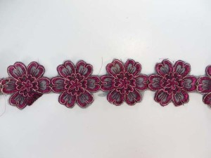 magenta 2.5 inches wide large flower gold metallic netting lace trim