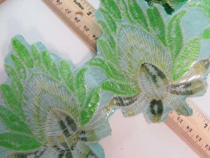 green 4 inches wide large flower gold metallic embroidered lace trim