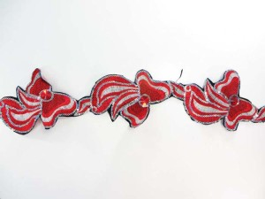 red 4 inches wide sequins metallic embroidered lace trim