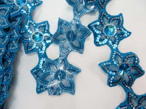 blue 2.5 inches wide sequins metallic embroidered flower lace trim