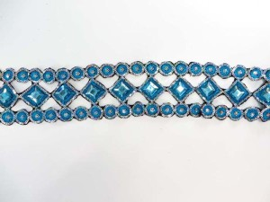 blue 3 inches wide sequins metallic embroidered lace trim