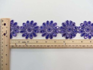 purple 2 inches wide sequins metallic embroidered flower lace trim