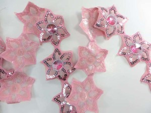 pink 2.5 inches wide sequins metallic embroidered flower lace trim