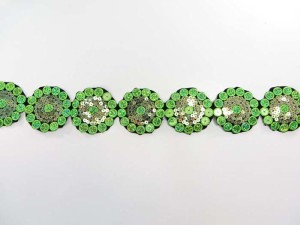 green 2 inches wide sequins metallic embroidered flower lace trim