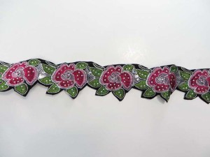 fuchsia 2.5 inches wide sequins metallic embroidered flower lace trim