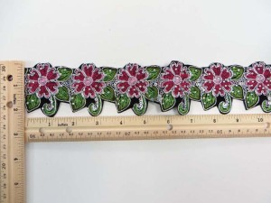fuchsia 2 inches wide sequins metallic embroidered flower lace trim