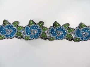 blue 2 inches wide sequins metallic embroidered flower lace trim