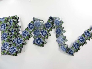 blue 2.25 inches wide sequins metallic embroidered flower lace trim