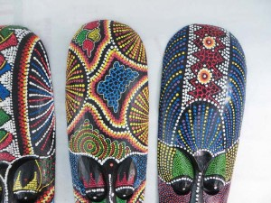 Thousand dot mask, hand carved hand painted wooden home decoration made by Bali artists.