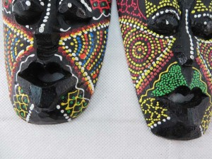 Thousand dot mask, hand carved hand painted wooden home decoration made by Bali artists