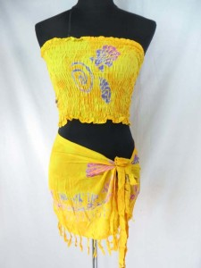 Rayon mini skirt and tube top set, handmade in Bali Indonesia assorted designs ramdomly picked by warehouse staff