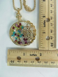Gold Tone Fashion Jewelry Living Memory Floating Rhinestone Glass Locket Pendant Necklace