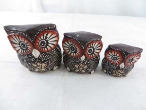 cute wooden owl set