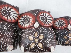 cute wooden owl set