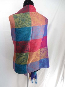 double-sided vintage inspired color blocks pashmina scarves shawl wrap stole