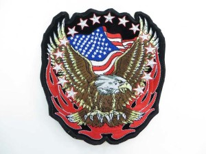 large size American flag bald eagle motorcycles biker chopper punk rock vest leather jacket denim patch