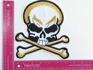 large size pirate skull crossbones Jolly Roger skeleton poison death warning sign motorcycles biker chopper punk rock vest leather jacket denim patch