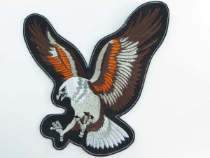large size flying eagle upwing motorcycles biker chopper punk rock vest leather jacket denim patch