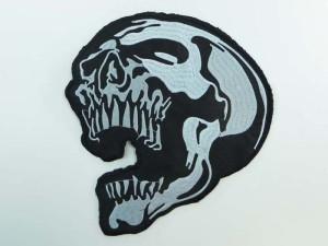 large size skull skeleton motorcycles biker chopper punk rock vest leather jacket denim patch