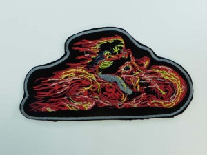 large size skeleton riding flaming motorcycles biker chopper punk rock vest leather jacket denim patch