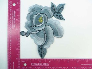 large silvery grey flower embroidered iron on patch / embroidered cloth badge motif applique / sew on applique patch