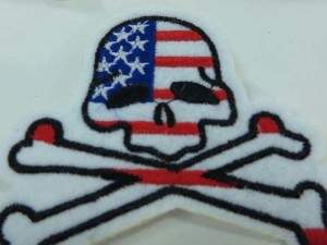 US national flag pirate skull crossbones Jolly Roger skeleton motorcycles biker chopper punk