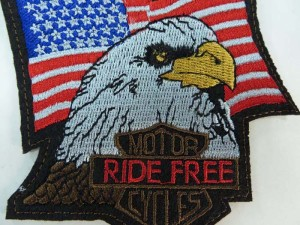 American national symbol bald eagle US flag embroidered iron on patch