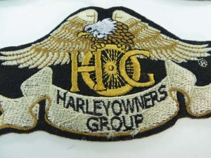 harley owners group golden straight wing bald eagle motorcycles biker chopper punk rock embroidered iron on patch