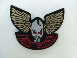 free rider skull wing motorcycles biker chopper punk rock embroidered iron on patch / embroidered cloth badge motif applique / sew on applique patch