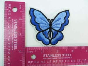 blue butterlfy embroidered iron on patch / embroidered cloth badge motif applique / sew on applique patch