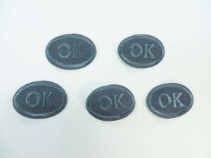 oval ok sign embroidered iron on patch / embroidered cloth badge motif applique / sew on applique patch