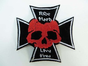 Ride Hard Live Free skull cross motorcycles biker chopper punk rock embroidered iron on patch / embroidered cloth badge motif applique / sew on applique patch