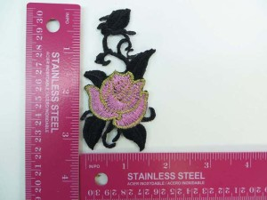 climbing rose embroidered iron on patch / embroidered cloth badge motif applique / sew on applique patch