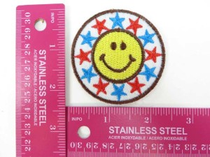 happy face stars embroidered iron on patch / embroidered cloth badge motif applique / sew on applique patch