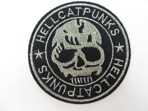 Hell Cat Punks skull skeleton motorcycles biker chopper punk rock embroidered iron on patch