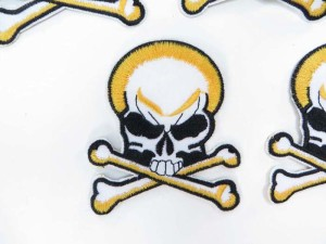 pirate skull crossbones Jolly Roger skeleton motorcycles biker chopper punk rock embroidered iron on patch