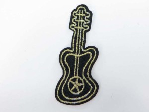 guitar embroidered iron on patch / embroidered cloth badge motif applique / sew on applique patch