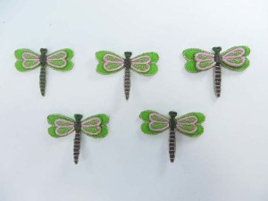 green dragonfly embroidered iron on patch / embroidered cloth badge motif applique / sew on applique patch