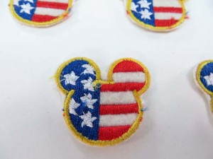 mini Patriotic American flag micky face embroidered iron on patch / embroidered cloth badge motif applique / sew on applique patch