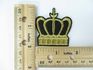 gold crown embroidered iron on patch / embroidered cloth badge motif applique / sew on applique patch