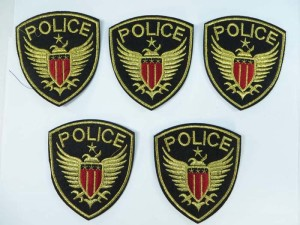 Police embroidered iron on patch / embroidered cloth badge motif applique / sew on applique patch