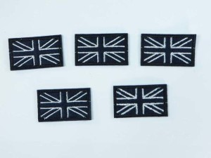 Black and white flag embroidered iron on patch / embroidered cloth badge motif applique / sew on applique patch