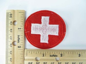 First Aid sign white cross in red circle logo embroidered iron on patch / embroidered cloth badge motif applique / sew on applique patch