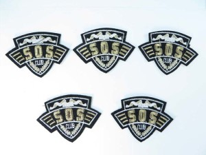 SOS club embroidered iron on patch / embroidered cloth badge motif applique / sew on applique patch