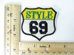 style 69 embroidered iron on patch / embroidered cloth badge motif applique / sew on applique patch