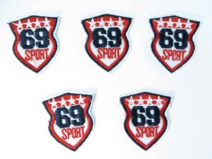 69 sport embroidered iron on patch / embroidered cloth badge motif applique / sew on applique patch
