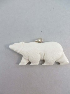 bear buffalo bone handcarved pendant